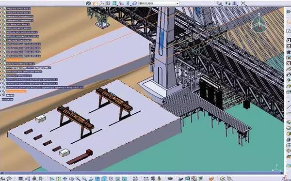 组装后的大桥主体结构、临时设施及场地布置