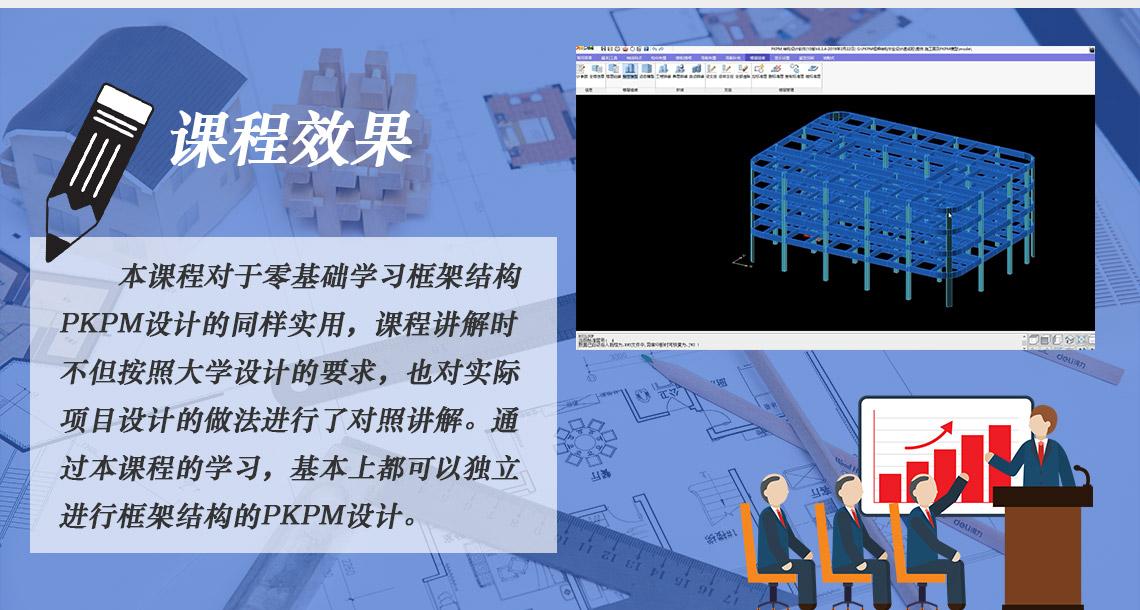 课程效果:本课程对于零基础学习框架结构PKPM设计的同样实用,课程讲解时不但按照大学设计的要求,也对实际项目设计的做法进行了对照讲解。通过本课程的学习,基本上都可以独立进行框架结构的PKPM设计。