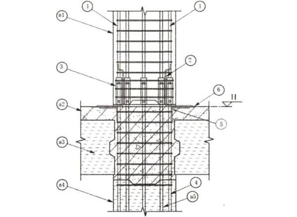 预制柱间引下线的连接大样图