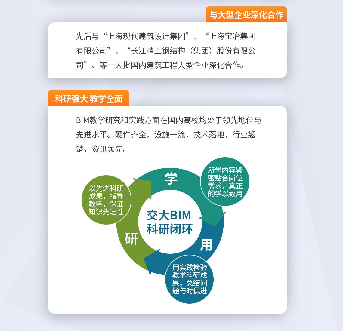 与大型企业深化合作 先后与上海现代建筑设计集团、上海宝冶集团有限公司、长江精工钢结构(集团)股份有限公司等一大批国内建筑工程大型企业深化合作。 科研强大 教学全面 BIM教学研究和实践方面在国内高校均处于领先地位和先进水平。硬件齐全,设施一流,技术落地,行业翘楚,资讯领先。