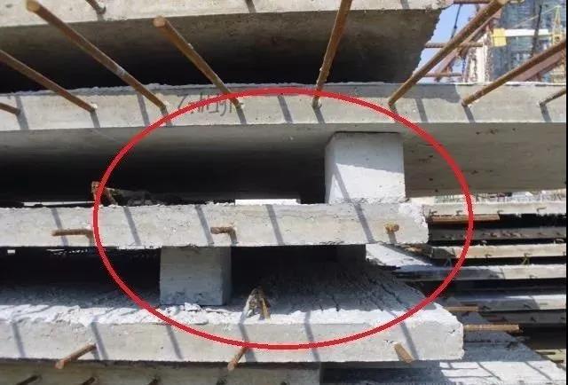 垫块不在一条垂直线上