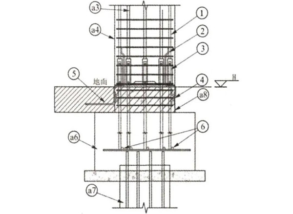 预制柱引下线钢筋与现浇柱连接大样图