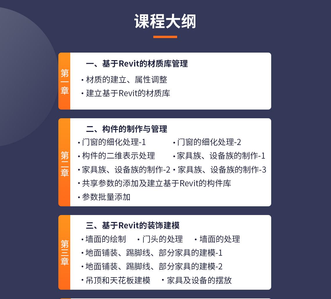 课程内容 第一章基于Rev的材质库管理 1.1材质的建立、属性调整 1.2建立基于Revit的材质库 第二章构件的制作与管理 2.1门窗的细化处理-1 2.1门窗的细化处理-2 2.2构件的二维表示处理 2.3家具族、设备族的制作-1 2.3家具族、设备族的制作-2 2.3家具族、设备族的制作-3 2.4参数批量添加 2.5共享参数的添加及建立基于Revit的构件库 第三章基于Revit的装饰建模 3.1墙面的绘制 3.2门头的处理 3.3地面铺装、踢脚线、部分家具的建模-1 3.3地面铺装、踢脚线、部分家具的建模-2 3.4墙面的处理 3.5吊顶和天花板建模 3.6家具及设备的摆放