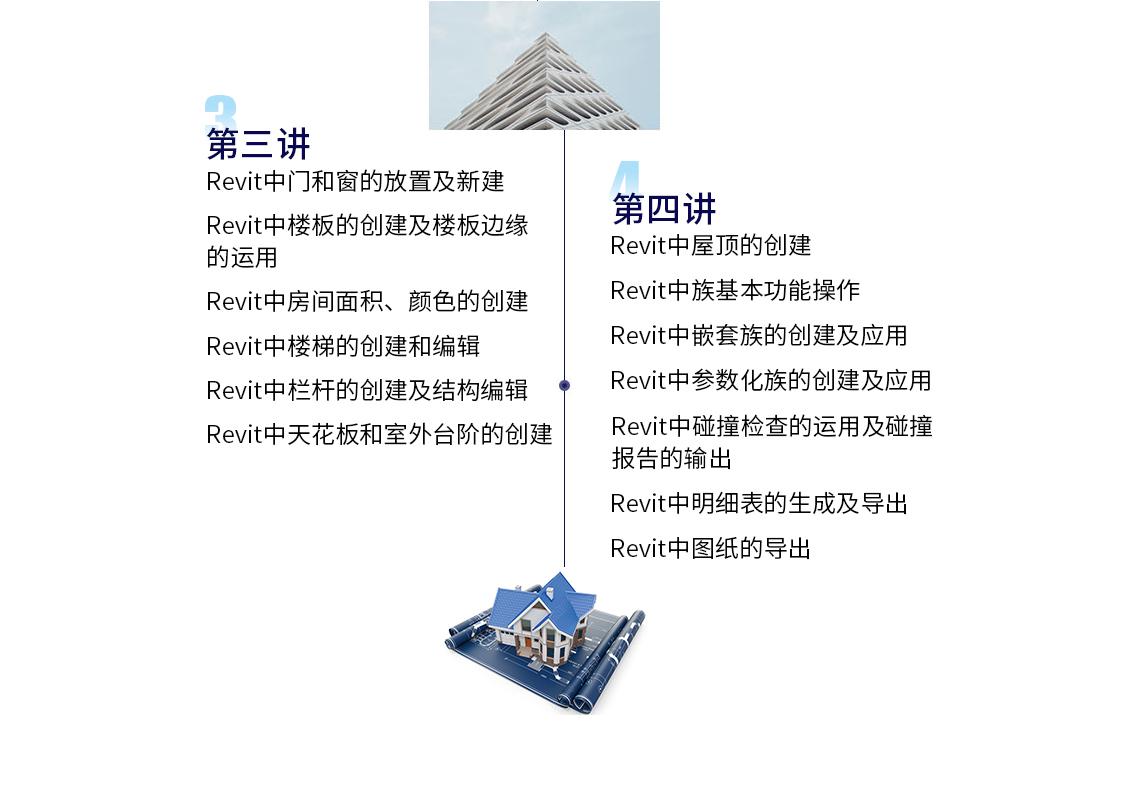 13 Revit中门和窗的放置及新建  14 Revit中楼板的创建及楼板边缘的运用  15 Revit中房间面积、颜色的创建  16 Revit中楼梯的创建和编辑  17 Revit中栏杆的创建及结构编辑  18 Revit中天花板和室外台阶的创建  19 Revit中屋顶的创建  20 Revit中族基本功能操作  21 Revit中嵌套族的创建及应用  22 Revit中参数化族的创建及应用  23 Revit中碰撞检查的运用及碰撞报告的输出  24 Revit中明细表的生成及导出  25 Revit中图纸的导出