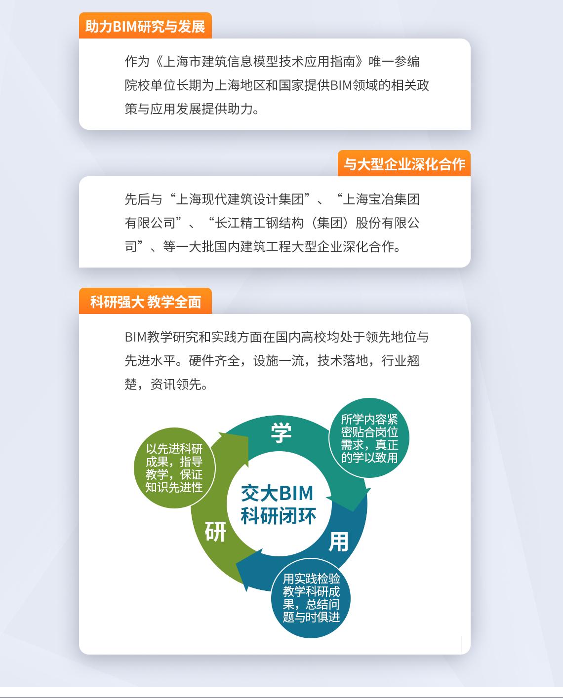 助力BIM研究与发展 做为《上海市建筑信息模型技术应用指南》唯一参编院校单位长期为上海地区和国家提供BIM领域的相关政策与应用发展提供助力。 与大型企业深化合作 先后与上海现代建筑设计集团、上海宝冶集团有限公司、长江精工钢结构(集团)股份有限公司等一大批国内建筑工程大型企业深化合作。 科研强大 教学全面 BIM教学研究和实践方面在国内高校均处于领先地位和先进水平。硬件齐全,设施一流,技术落地,行业翘楚,资讯领先。