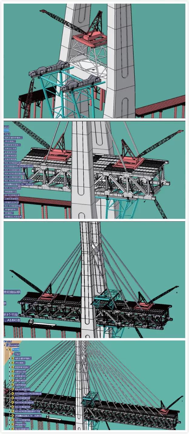 贵阳侧主塔墩3#墩钢梁双悬臂对称拼装施工模拟